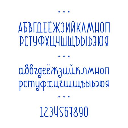 Cyrillic alphabet letters and numbers. Vector. Illustration