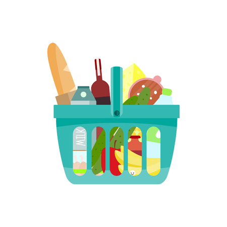 Shopping basket with foods. Vector illustration.