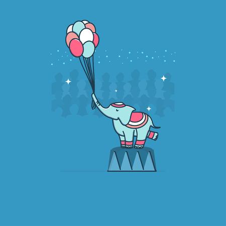 Circus elephant. Vector.