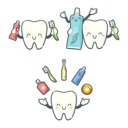 Cute teeth designs. Illustration