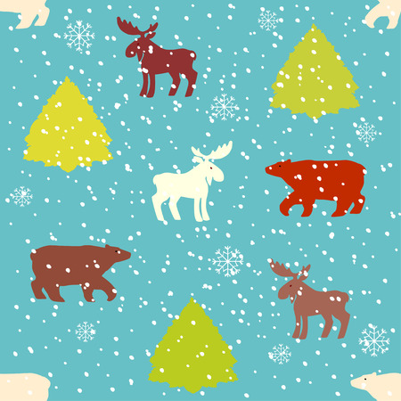 Holiday Seamless Pattern with Winter Animals. Vector illustration.