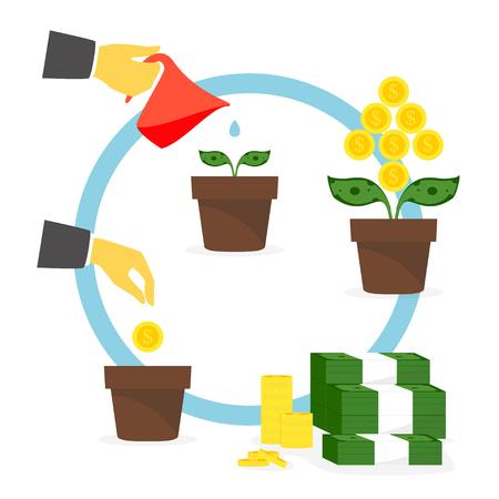 Growing money tree. Vector. Illustration