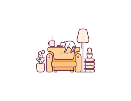 Living room. Relax with books. Vector illustration.