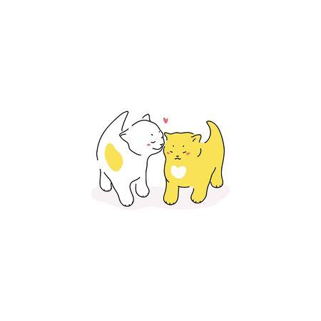 Vector illustration of a cute little kitten. Illustration