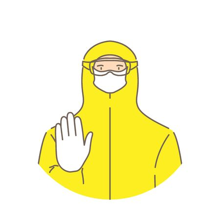 Man in protective suit, isolated. Vector illustration.