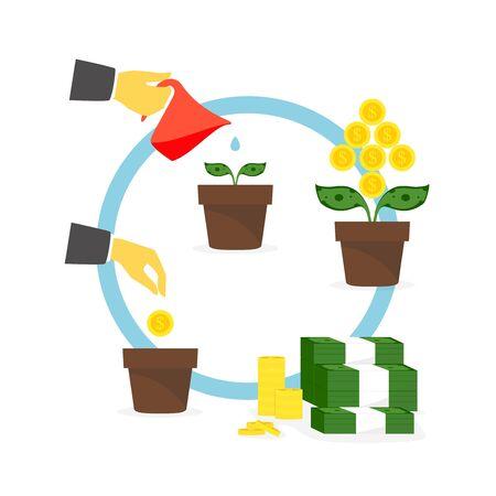 Growing money tree. illustration.