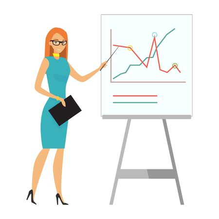 Business woman giving a presentation. Business character. Vector illustration.