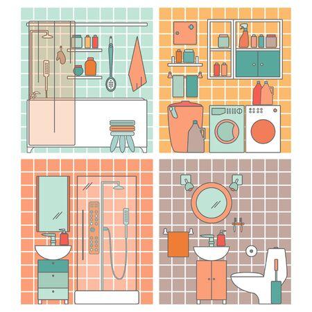 various bathrooms illustration design.