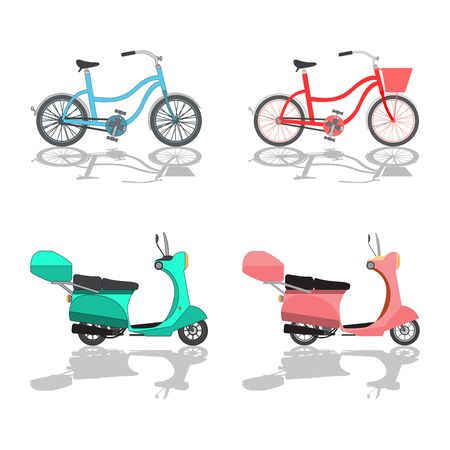 Scooter Motorbike and Bicycle on White Background.