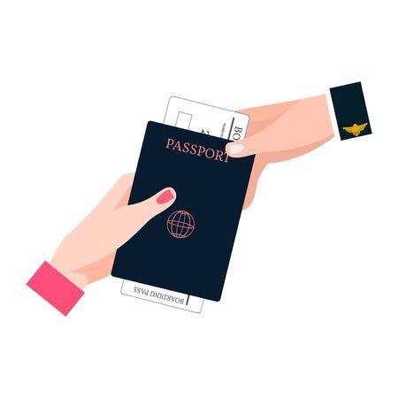 Human Hand Holding Boarding Pass and Passport.