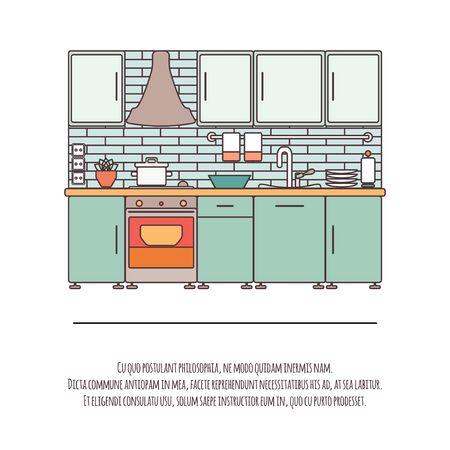 Kitchen Interior design illustration. Illustration