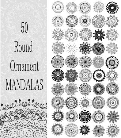 (50) 장식 라운드 만다라의 설정. 벡터의 기하학적 인 원형 요소입니다. 아랍어 디자인, 생일 및 기타 휴일, 만화경, 메달, 요가, 인도, 다른 종류의를위