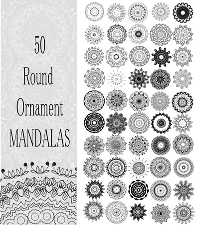 Set of 50 Ornament round mandalas. Geometric circle element made in vector. Perfect set for any other kind of design, birthday and other holiday, kaleidoscope,  medallion, yoga, india, arabic Vector
