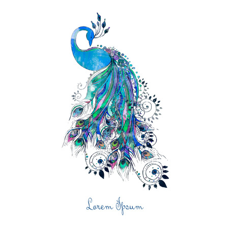 design symbols: Greeting watercolor card with peacock. Frame of peacock made in vector. Perfect cards, or for any other kind of design, birthday and other holiday.Seamless hand drawn map with peacock.