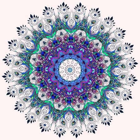 Mooie kaart met Feather. Kaart van mandala in vector, kaarten of voor enige andere vorm van design, verjaardag en andere holiday.Bright illustratie. Patroon met pauw, achtergrond, caleidoscoop, india Stock Illustratie