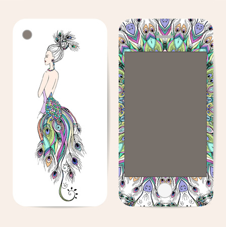 Phone case collection, delicate floral pattern. Vector Gerl Peacock. Vintage decorative elements, templates with lace ornament. Hand drawn background. Arabic, indian, ottoman motifs. Illustration