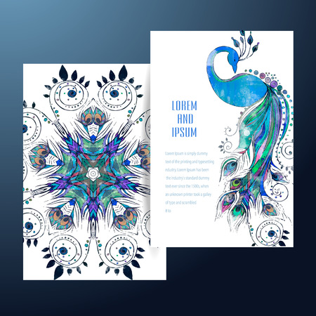 Beautiful card with Feather. Card of mandala in vector, cards or for any other kind of design, birthday and other holiday.Bright illustration. Pattern with peacock, background, kaleidoscope, india Illustration
