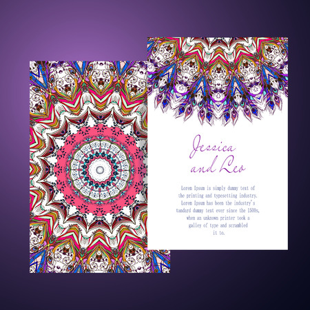 Beautiful card with Feather. Card of mandala in vector, cards or for any other kind of design, birthday and other holiday.Bright illustration. Pattern with peacock, background, kaleidoscope, india Vettoriali