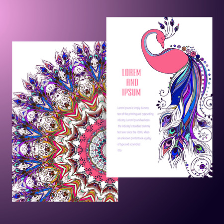 mandala flower: Beautiful card with Feather. Card of mandala in vector, cards or for any other kind of design, birthday and other holiday.Bright illustration. Bird   peacock, background, kaleidoscope, india