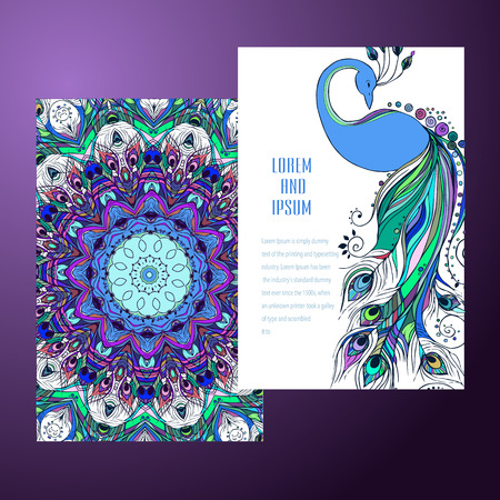 india pattern: Beautiful card with Feather. Card of mandala in vector, cards or for any other kind of design, birthday and other holiday.Bright illustration. Bird   peacock, background, kaleidoscope, india