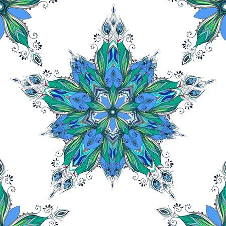 pluma de pavo real: Bella modelo con el pavo real de la pluma. Tarjeta de mandala hecha en vector. Patr�n perfecto, dise�o, cumplea�os otro d�a de fiesta, de fondo para p�ginas web. Antecedentes, caleidoscopio, la india, la meditaci�n