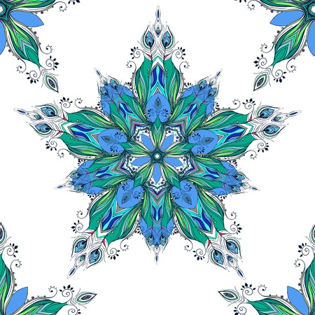 Beautiful pattern with Feather peacock. Card of mandala made in vector. Perfect  pattern, design, birthday other holiday, background for web pages. Background, kaleidoscope, india, meditation