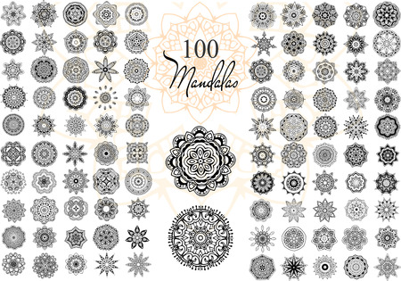 marcos redondos: Ornamento redondo con la mandala. Elemento c�rculo geom�trico hecho en vector. Conjunto perfecto para cualquier otro tipo de dise�o, cumplea�os y otras fiestas, caleidoscopio, medall�n, el yoga, la india, �rabe Vectores