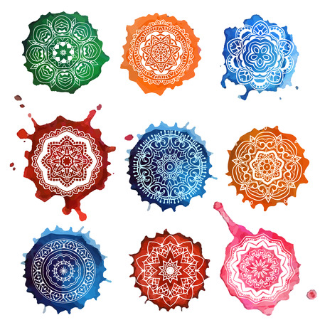mandala vector: Ornament set card with mandala. Geometric circle element made in vector. Perfect cards for any other kind of design, birthday and other holiday, kaleidoscope,  Watercolor, yoga, india, arabic