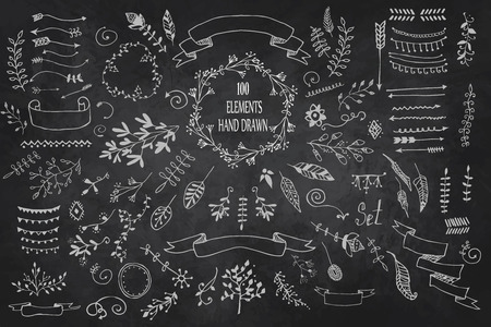 Hand Drawn vintage 100 elements. Set of flowers. Decorative elements, hand drawn doodle frames, dividers, borders, elements. Isolated Vector