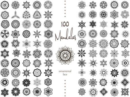 arabesco: Ornamento redondo con la mandala. Elemento círculo geométrico hecho en vector. Conjunto perfecto para cualquier otro tipo de diseño, cumpleaños y otras fiestas, caleidoscopio, medallón, el yoga, la india, árabe Vectores