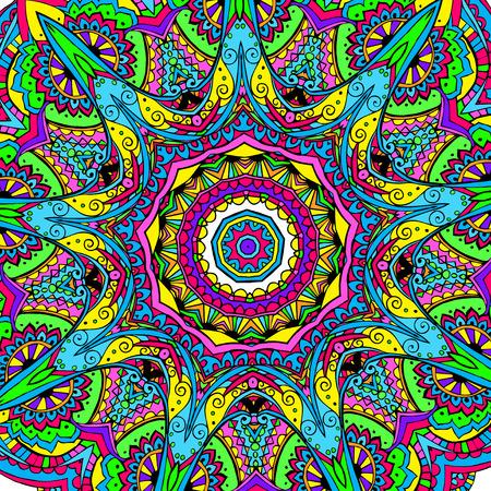 Hand getrokken abstracte psychedelische achtergrond ornament illustratie concept. Kantpatroon ontwerp. Vector decoratieve kaart of uitnodiging ontwerp traditionele, islam, arabisch, indische, poef motieven, elementen. Stock Illustratie