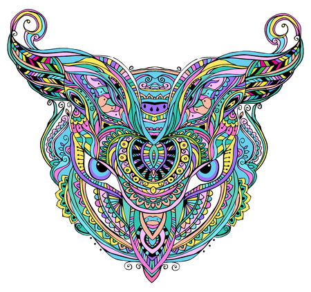 lineage: Mask being object symbol animal plant representation family clan tribe, vector illustration. Abstract psychedelic pattern. Perfect set for any other kind of design, birthday and other holiday, kaleidoscope,  medallion, yoga, india, arabic
