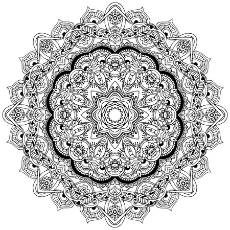 Ornament black white card with mandala. Geometric circle element made in vector. Perfect  cards for any other kind of design, birthday and other holiday, kaleidoscope,  medallion, yoga, india, arabic Imagens - 38421940