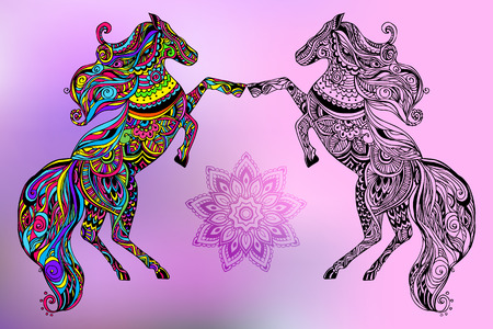 old horse: Hand drawn greeting card ornament illustration concept. Lace  design. Vector decorative banner of card or invitation design Vintage traditional, horse, animal, arabic, indian, ottoman motifs, elements. Illustration