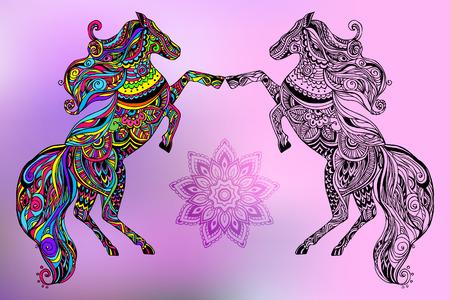 caballo: Mano de tarjetas de felicitaci�n dibujado ornamento ilustraci�n concepto. Dise�o de encaje. Vector decorativo bandera de la tarjeta de invitaci�n o el dise�o de la vendimia tradicional, caballo, animal,,, motivos otomano indios �rabes, elementos. Vectores