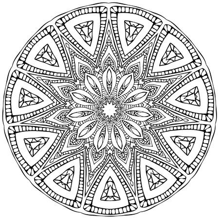만다라와 장식 검은 색 흰색 카드. 벡터의 기하학적 인 원형 요소입니다. 아랍어 디자인, 생일 및 기타 휴일, 만화경, 메달, 요가, 인도, 다른 종류의를