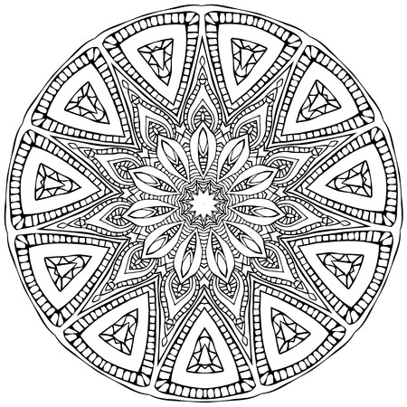 mandala tattoo: Ornament black white card with mandala. Geometric circle element made in vector. Perfect  cards for any other kind of design, birthday and other holiday, kaleidoscope,  medallion, yoga, india, arabic