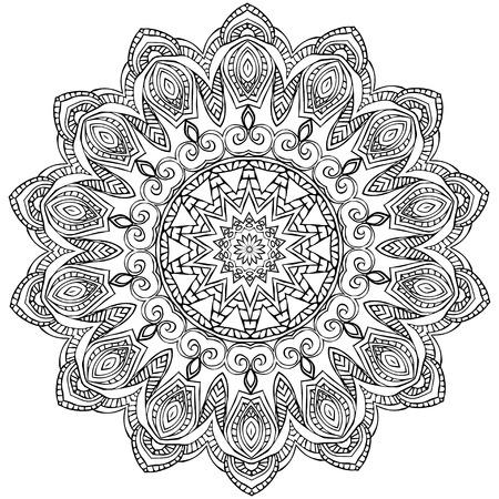 papier peint noir: Ornement carte blanche noir avec mandala. �l�ment de cercle g�om�trique faite dans le vecteur. Cartes parfaites pour tout autre type de conception, anniversaire et d'autres vacances, kal�idoscope, m�daillon, le yoga, l'inde, arabe