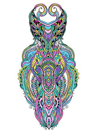 alaskabo: Mask är föremål symbol djur växt representation familj klan stam, vektor illustration. Abstrakt psychedelic mönster. Perfekt set för någon annan typ av konstruktion, födelsedag och andra semester, kaleidoscope, medaljong, yoga, india, arabiska Illustration