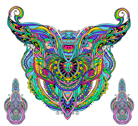 speculative: Mask being object symbol animal plant representation family clan tribe, vector illustration. Abstract psychedelic pattern. Perfect set for any other kind of design, birthday and other holiday, kaleidoscope,  medallion, yoga, india, arabic