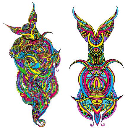 origen animal: Totem siendo objeto familiar representación planta animal símbolo tribu clan, ilustración vectorial. Modelo psicodélico abstracta. Conjunto perfecto para cualquier otro tipo de diseño, cumpleaños y otras fiestas, caleidoscopio, medallón, el yoga, la india, árabe Vectores