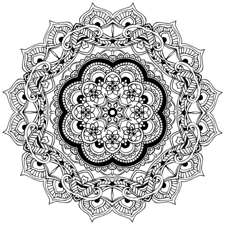 Ornament black white card with mandala. Geometric circle element made in vector. Perfect  cards for any other kind of design, birthday and other holiday, kaleidoscope,  medallion, yoga, india, arabic Vector