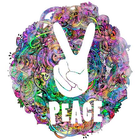 simbolo della pace: Stile Hippie. Acquerello sfondo ornamentale. Amore e musica con i caratteri scritti a mano, disegnati a mano doodle background e texture. illustrazione vettoriale.