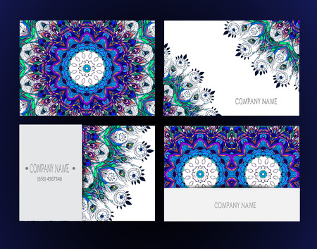 Set of business card and invitation card templates with lace ornament. Vector background. Indian, Arabic, Islam motifs. Peacock design elements. Wedding or save the date hand drawn background. Vector