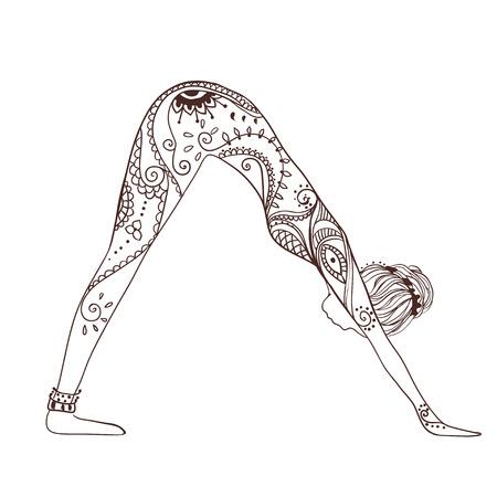 Ornament mooie kaart met yoga. Geometrische element handgetekende