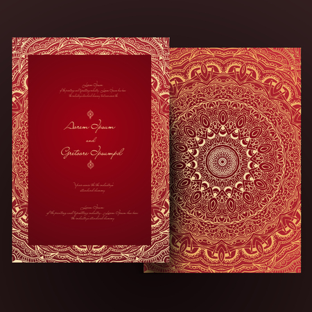 Vintage invitation cards with lace ornament. Eastern floral decor. Template frame. Perfect cards for any other kind of design, birthday and other holiday, kaleidoscope,  medallion, yoga, india, arabic 向量圖像