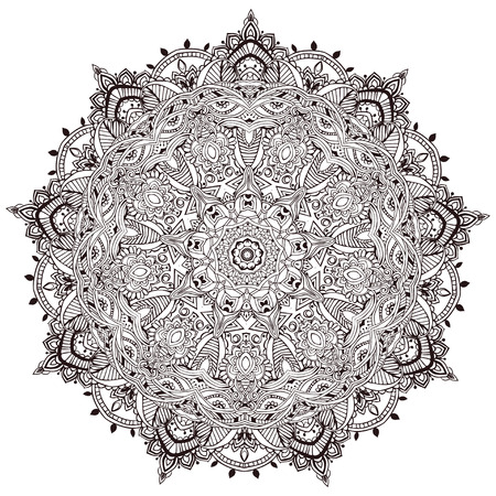 mandala: Ornament black white card with mandala. Geometric circle element