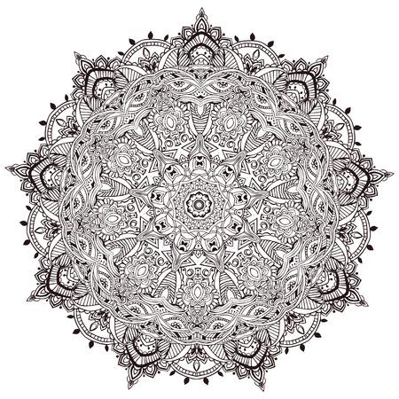 Ornament black white card with mandala. Geometric circle element