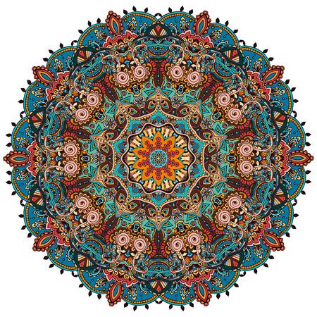 marcos redondos: Tarjeta del color del ornamento con la mandala. Elemento círculo geométrico hecho en vector. Tarjetas perfectas para cualquier otro tipo de diseño, cumpleaños y otras fiestas, caleidoscopio, medallón, el yoga, la india, árabe