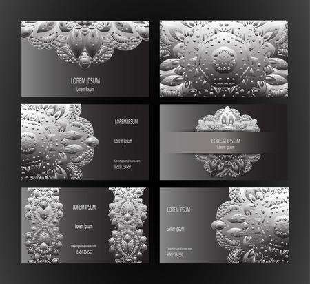 indian old man: Set of business card and invitation card templates with lace ornament